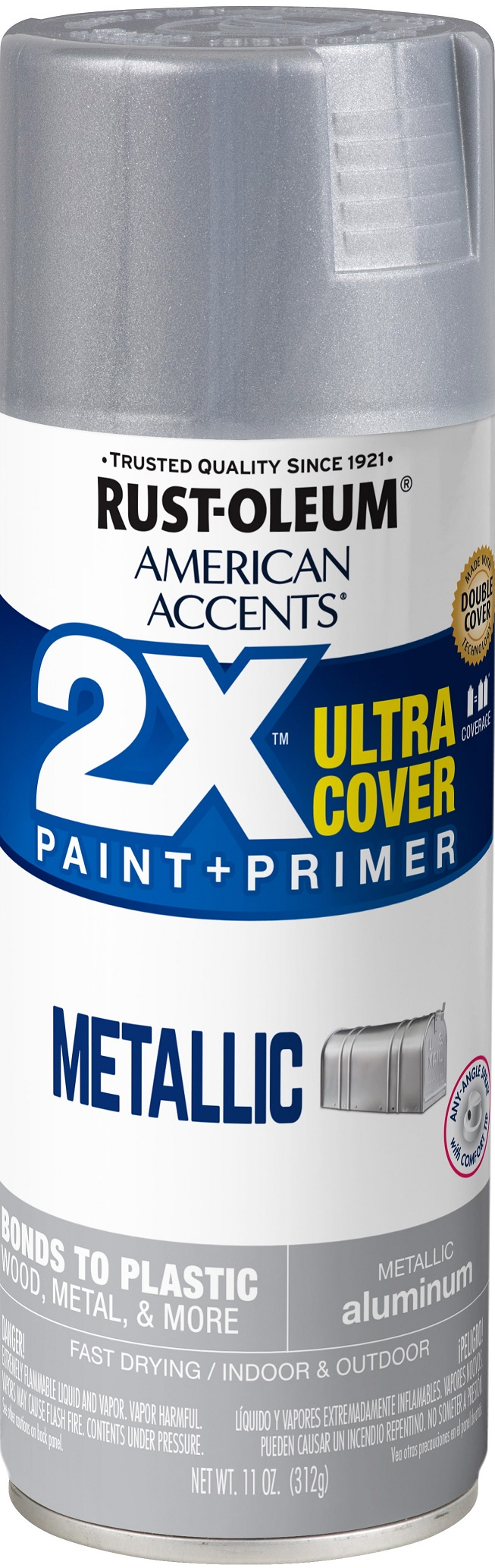 (3 Pack) Rust-Oleum American Accents Ultra Cover 2X Metallic Aluminum Spray Paint and Primer in 1, 11 oz