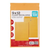 Pen and Gear 9 x 12 Brown Kraft Clasp Envelopes, 6 Count