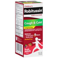 Children's Robitussin Long-Acting Cough & Cold Liquid, Fruit Punch, 4 fl oz