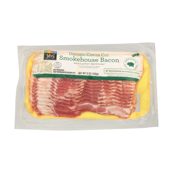 365 everyday value® Uncured Center Cut Smokehouse Bacon - Reduced Sodium, 12 oz