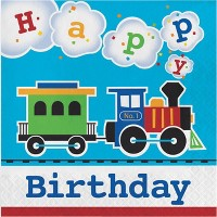 48ct All Aboard Train Birthday Napkins