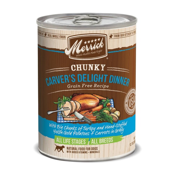 Merrick Chunky Carver's Delight Dinner With Big Chunks Of Turkey And Hand-stuffed Yukon Gold Potatoes + Carrots In Gravy Natural Food For Dogs