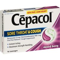 Cepacol Mixed Berry Sore Throat & Cough Lozenges, 16 count