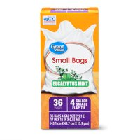 Great Value 4 Gallon Eucalyptus Mint Scent Small Trash Bags, 36 Pack