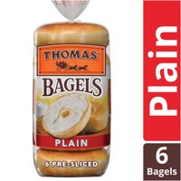 Thomas' Plain Soft & Chewy Pre-Sliced Bagels, 6 count, 20 oz