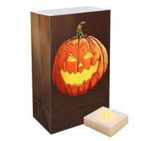 6ct Battery Operated Luminaria Kit- with Timer - Jack O' LED Lantern