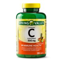 Spring Valley Vitamin C Chewable Tablets, Tropical Fruit Flavors, 500 mg, 200 Count