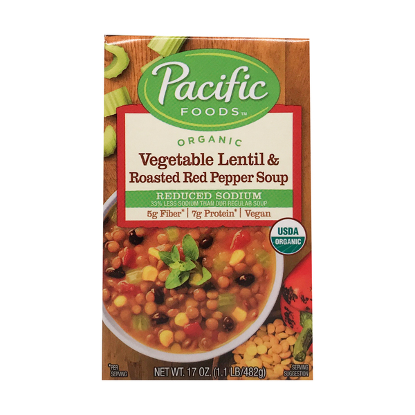 Pacific natural foods Organic Reduced Sodium Vegetable Lentil & Roasted Red Pepper Soup, 17 oz