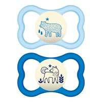 MAM Sensitive Skin Pacifiers, Baby Pacifier 6+ Months, Best Pacifier for Breastfed Babies, 'Air Night' Design Collection, Boy, 2-Count