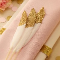 10ct Feathers Pastel Perfection Gold Glitter