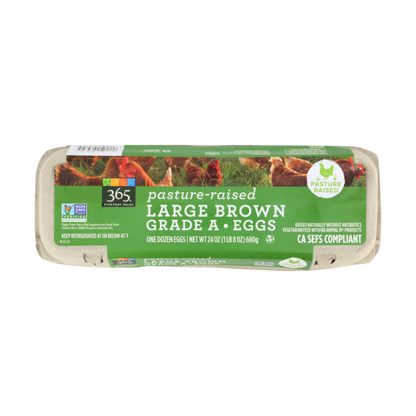 365 everyday value® Pasture Raised Large Brown Grade A Eggs, 24 oz