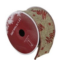 """Northlight Pack of 12 Red and Beige Christmas Tree Wired Craft Ribbons - 2.5"""" x 120 Yards"""