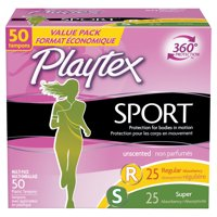 Playtex Sport Plastic Tampons, Regular/Super, Unscented, 50 Ct
