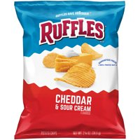 Ruffles Cheddar & Sour Cream Flavored Potato Chips, 2.625 oz Bag