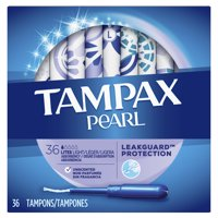TAMPAX Pearl, Light, Plastic Tampons, Unscented, 36 Count