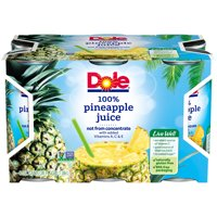 (6 cans) Dole 100% Pineapple Juice, Canned Pineapple Juice, 6 fl oz