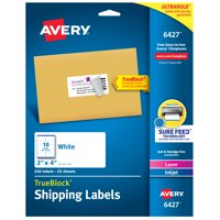 Avery Shipping Labels, Permanent Adhesive, 2' x 4', 250 Labels (6427)