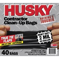 Husky Heavy Duty Contractor Bags, 42 Gallon, 40 Bags, 2 Mil