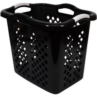 Home Logic Hamper 2 Bushel Laundry Basket, Black/Silver