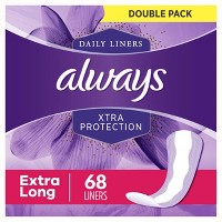 Always Xtra Protection Extra Long Dailies Pantiliners - 68ct