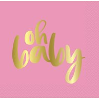 """Oh Baby"" Paper Luncheon Napkins, 6.5 in, Pink and Gold, 16ct"