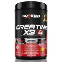 Six Star Pro Nutrition Elite Series Creatine x3 Powder, Fruit Punch, 35 Servings