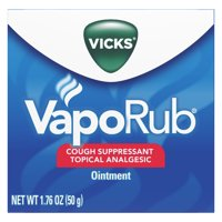 Vicks VapoRub Original Cough Suppressant, Topical Analgesic Ointment, 1.76 oz, Best used for relief from cold symptoms, aches, and pains