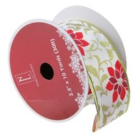 Northlight Pack of 12 Red Poinsettia Print Gold Wired Christmas Craft Ribbon Spools - 2.5 x 120 Yards Total