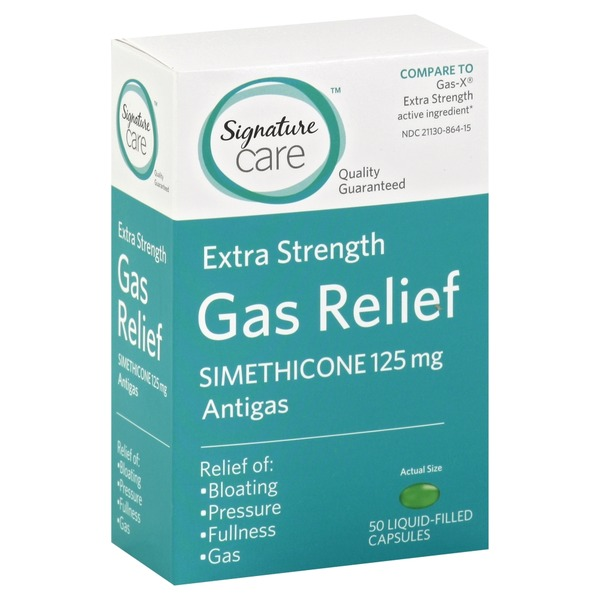 Signature Home Gas Relief, Extra Strength, 125 mg, Liquid-Filled Capsules