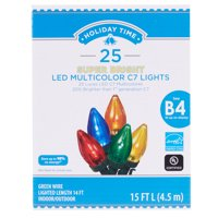 Holiday Time Super Bright LED C7 Light set, Multicolored, 25 count