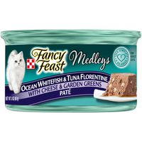 Fancy Feast Pate Wet Cat Food, Medleys Whitefish & Tuna Florentine With Cheese