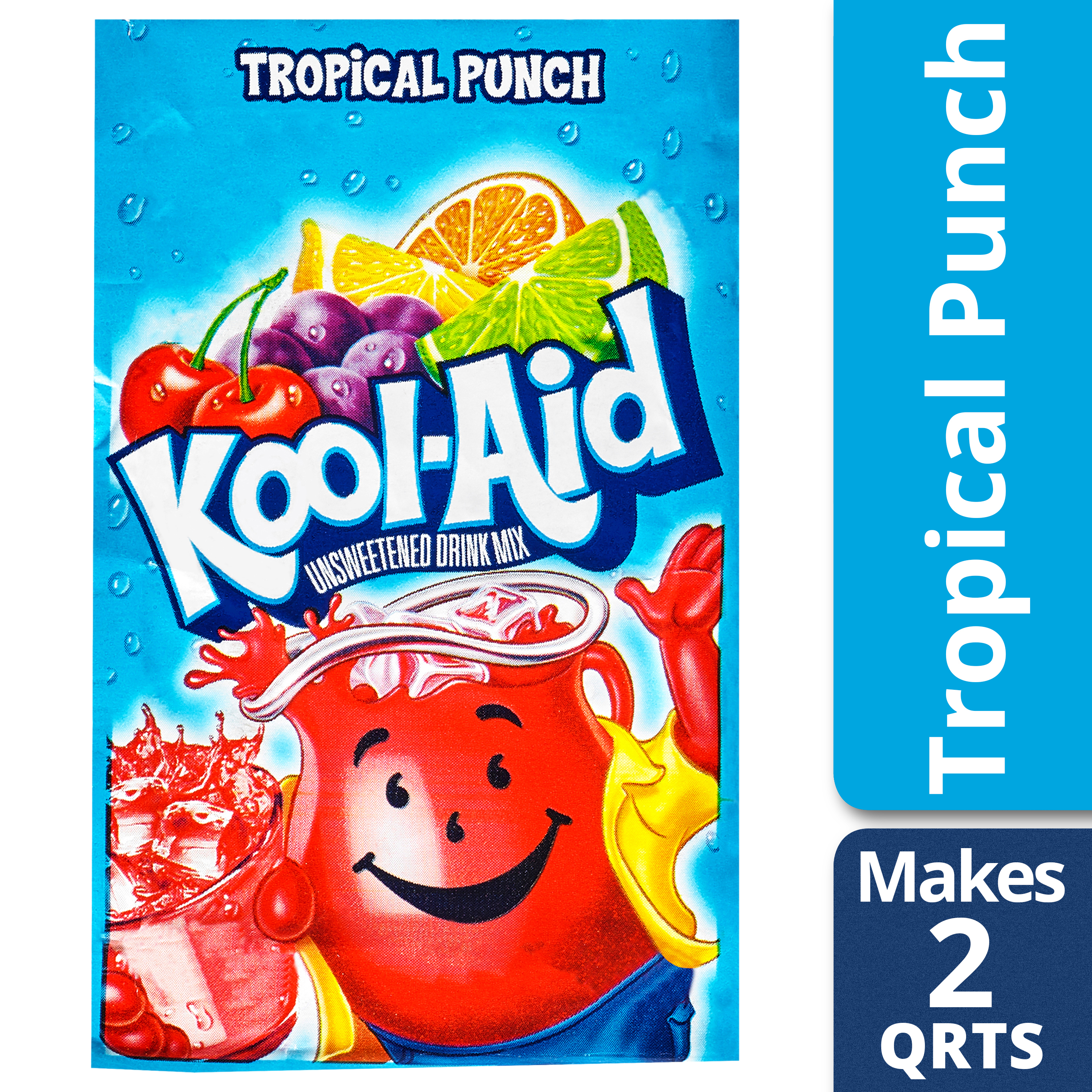 Kool-Aid Unsweetened Tropical Punch Powdered Drink Mix, Caffeine Free, 0.16 oz Packet