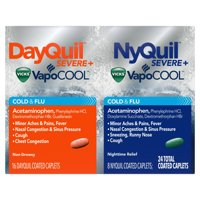 DayQuil and NyQuil SEVERE with Vicks VapoCOOL Cough, Cold & Flu Relief, 24 Caplets (16 DayQuil & 8 NyQuil) – Relieves Sore Throat, Fever, and Congestion, Day or Night