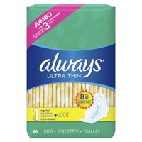 Always Ultra Thin, Size 1, Regular Pads with Wings, Unscented, 46 Ct