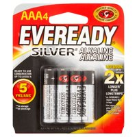 Eveready Silver Alkaline AAA Batteries, 4 Pack of AAA Cell Batteries