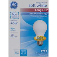 GE Soft White Long Life 60W Halon Bulbs