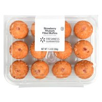 Freshness Guaranteed Strawberry Rhubarb Filled Muffins, 11.8 oz, 12 Count