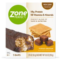 ZonePerfect Protein Bars, Fudge Graham, 14g of Protein, Nutrition Bars With Vitamins & Minerals, Great Taste Guaranteed, 5 Bars