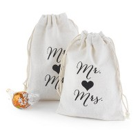 25ct Mr and Mrs Cotton Favor Bags