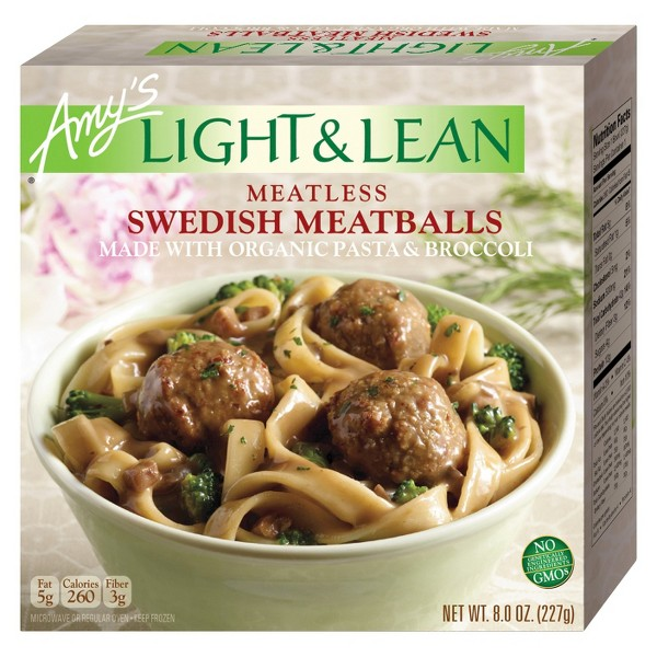 Amy's Light and Lean Frozen Meatless Swedish Meatballs Meal - 8oz