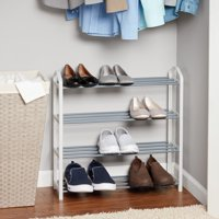 Mainstays 4-Tier Shoe Rack, White with Steel Shelves
