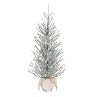 Holiday Time Snow Capped Green Fir Tree with Burlap Base, 36