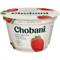Chobani Non-Fat Greek Yogurt Strawberry On The Bottom 0% Milk Fat