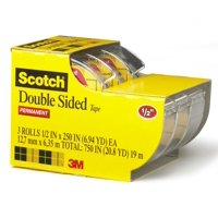 Scotch Double-Sided Tape Dispenser 3 Pack, 1/2in. x 250in., Clear
