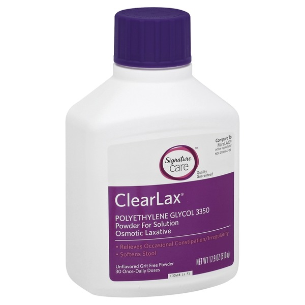 Signature ClearLax, Powder for Solution, Unflavored Grit Free Powder
