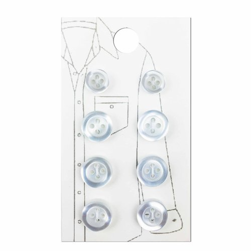 Le Bouton Black White Buttons, 8-Count