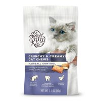 Special Kitty Hairball Control Crunchy & Creamy Cat Treats, Chicken Flavor, 2.1 oz