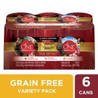 Purina ONE Grain Free, Natural Pate Wet Dog Food Variety Pack, SmartBlend True Instinct, 13 oz. Cans