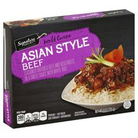 Signature Select World Cuisine Asian Style Beef Seasoned Breaded Beef And Vegetables In A Sweet Sauce With White Rice