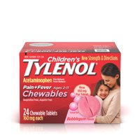 Children's Tylenol Chewables Pain + Fever Relief, Bubble Gum, 24 ct